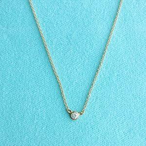 New Yellow gold .05 diamond pendant neckla…